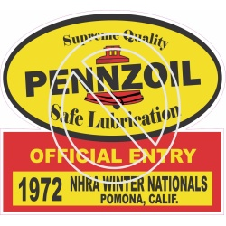 Pennzoil 1972 Official Entry NHRA Winter Nationals