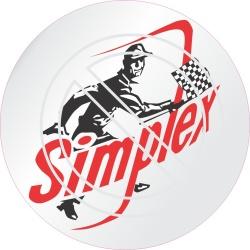 Simplex man with checkered flag